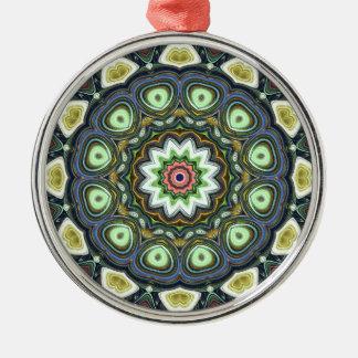 Ornement Rond Argenté Mandala de chaux de citron