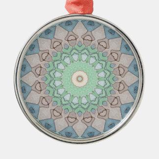 Ornement Rond Argenté Mandala de pastels de ton de la terre