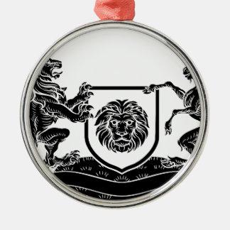 Ornement Rond Argenté Manteau héraldique de licorne et de lion de crête