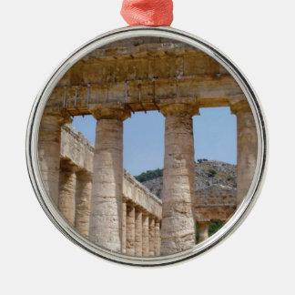 Ornement Rond Argenté marbre grec