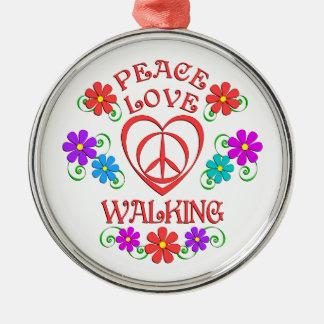 Ornement Rond Argenté Marche d'amour de paix