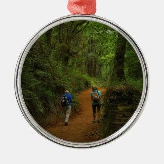 Ornement Rond Argenté Marcheurs de forêt, EL Camino, Espagne