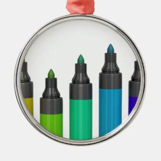 Ornement Rond Argenté Marqueurs permanents colorés