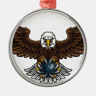 Ornement Rond Argenté Mascotte de roulement de sports d'Eagle