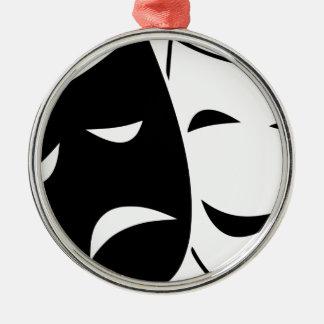 Ornement Rond Argenté Masque de comédie et de tragédie
