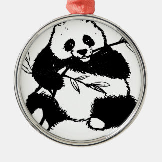 Ornement Rond Argenté Mastication du panda