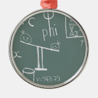 Ornement Rond Argenté mathématiques sur le vert