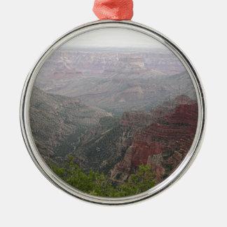 Ornement Rond Argenté Matin brumeux de canyon grand, Arizona