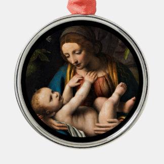Ornement Rond Argenté Med Kristusbarnet de Madonna