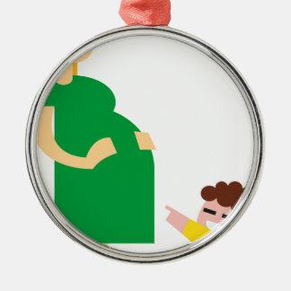 Ornement Rond Argenté Mère et enfant