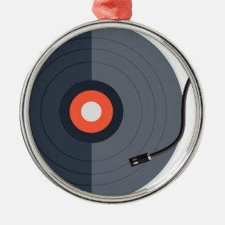 Ornement Rond Argenté mode record d'art de musique