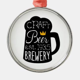 Ornement Rond Argenté Modèle de conception de logo de bière de métier