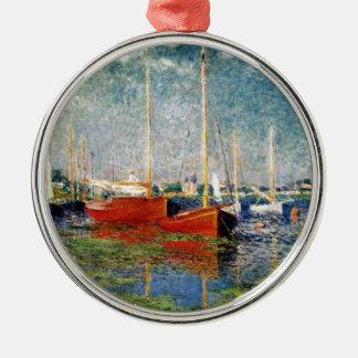 Ornement Rond Argenté Monet - les bateaux rouges Argenteuil