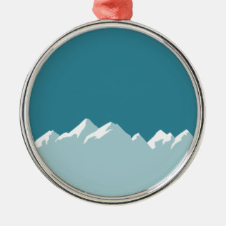 Ornement Rond Argenté montagne