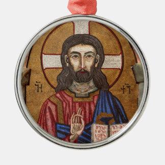 Ornement Rond Argenté Mosaïque antique de Jésus
