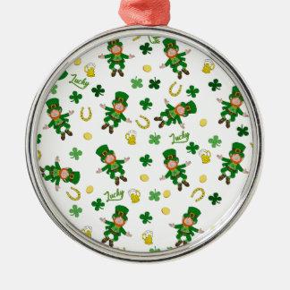 Ornement Rond Argenté Motif de Jour de la Saint Patrick