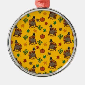 Ornement Rond Argenté Motif de la Turquie de thanksgiving