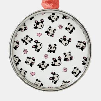 Ornement Rond Argenté Motif de panda