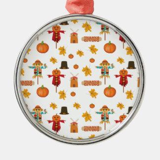 Ornement Rond Argenté Motif de thanksgiving