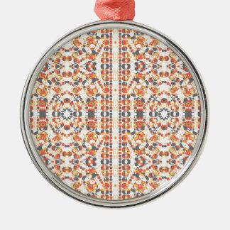Ornement Rond Argenté Motif géométrique multicolore