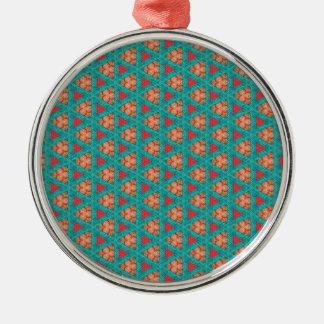 Ornement Rond Argenté motif orange bleu