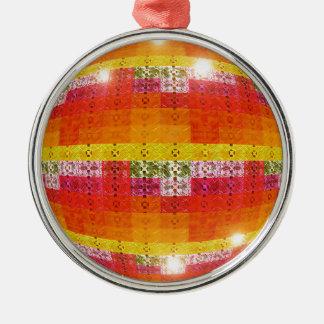 Ornement Rond Argenté Motif orange de boule de disco