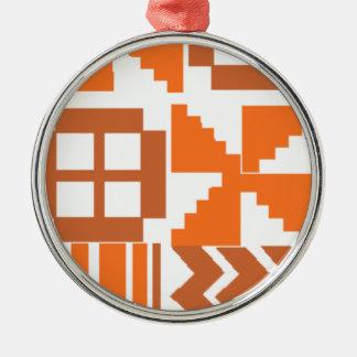 Ornement Rond Argenté Motif orange de Khanga