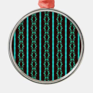 Ornement Rond Argenté Motif rayé turquoise au néon moderne