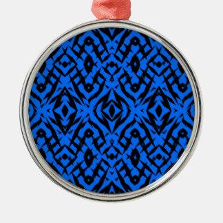 Ornement Rond Argenté Motif tribal bleu de formes