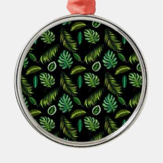Ornement Rond Argenté Motif tropical Tiki floral fait main de feuille