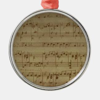 Ornement Rond Argenté Motif vintage de musique de feuille