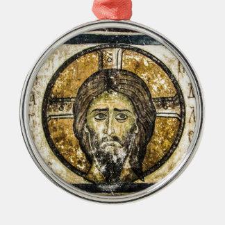 Ornement Rond Argenté Mouchoir saint de Jésus d'icône orthodoxe de Noël