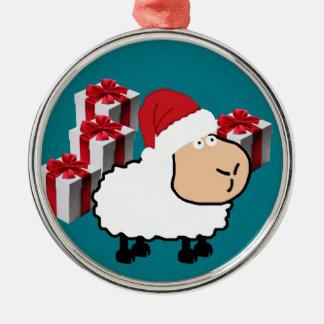Ornement Rond Argenté Moutons mignons lunatiques drôles de Noël