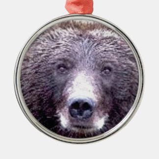 Ornement Rond Argenté museau principal noir d'ours