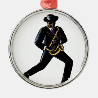 Ornement Rond Argenté Musicien de jazz jouant le saxophone Scratchboard