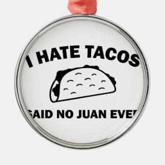 Ornement Rond Argenté N'a dit aucun Juan jamais