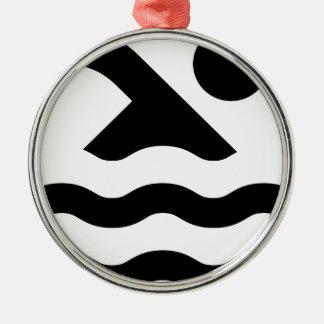 Ornement Rond Argenté Natation dans le logo de piscine