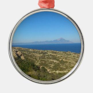 Ornement Rond Argenté Nature du mont Athos Grèce