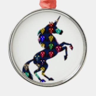 Ornement Rond Argenté navinJOSHI peint NVN100 de conte de fées de cheval