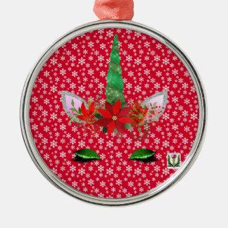Ornement Rond Argenté Noël de la licorne de FD ornemente 53086A5