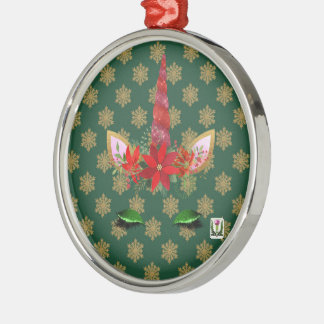 Ornement Rond Argenté Noël de la licorne de FD ornemente 53086B5