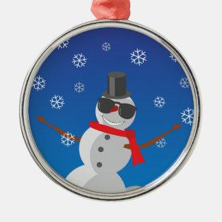 Ornement Rond Argenté Noël d'hiver de neige d'homme de neige