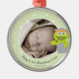 Ornement Rond Argenté Noël du bébé de l'oscar | le premier - ajoutez
