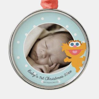Ornement Rond Argenté Noël du bébé de Zoe   le premier - ajoutez votre