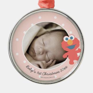 Ornement Rond Argenté Noël du bébé d'Elmo   le premier - ajoutez votre