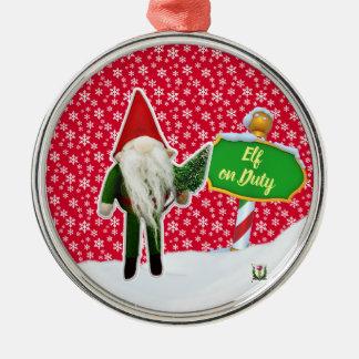 Ornement Rond Argenté Noël en service des elfes de FD ornemente 53086A35