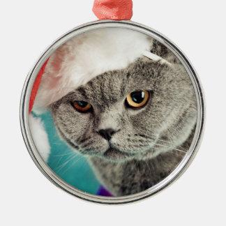 Ornement Rond Argenté Noël gris de chat - chat de Noël - chat de chaton