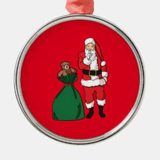 Ornement Rond Argenté Noël le père noël