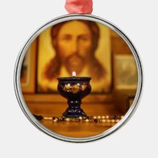 Ornement Rond Argenté Noël orthodoxe
