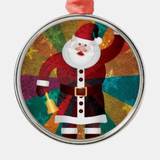 Ornement Rond Argenté Noël Père Noël sonnant Bell sur l'arrière - plan